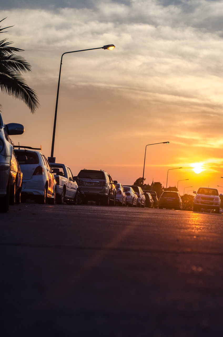 sunset, car, land vehicle, transportation, mode of transport, sky, road, outdoors, no people, nature, day