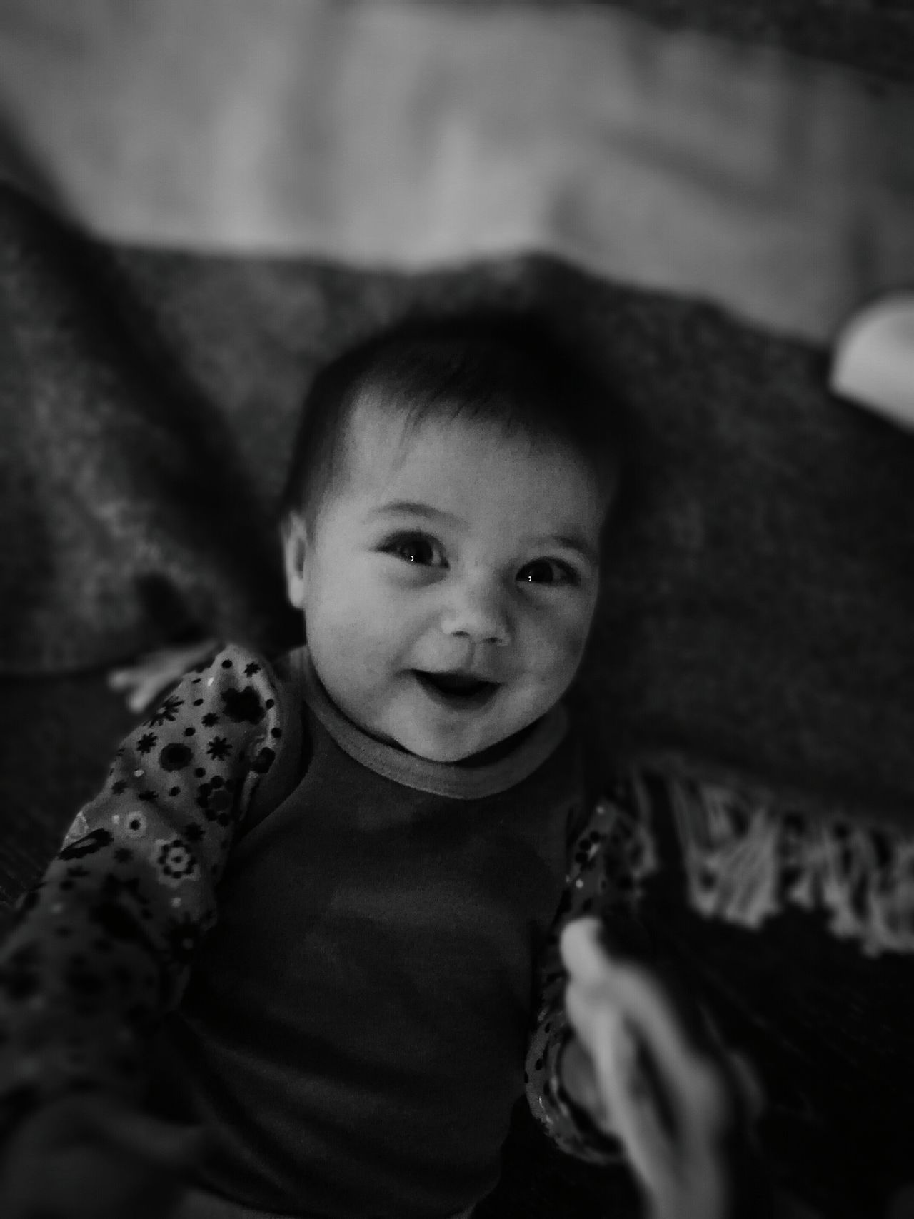 Baby Childhood Smiling Close-up Innocence Indoors  Babyhood Blanket Blackandwhite Portrait Youth Classic Smile Looking At Camera Truebeauty Beauty Beautiful Lying On Back Littlesister
