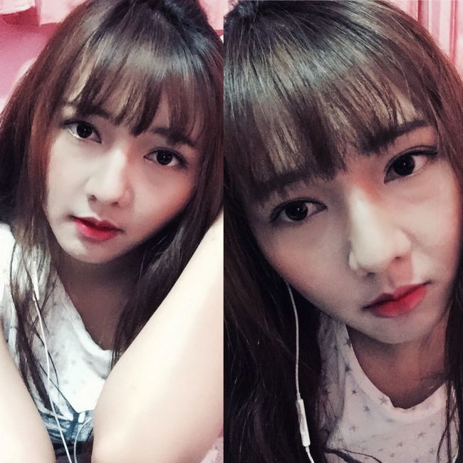 I played with my Makeup . I tried Iu 's look but her face is too Innocent . Kpop