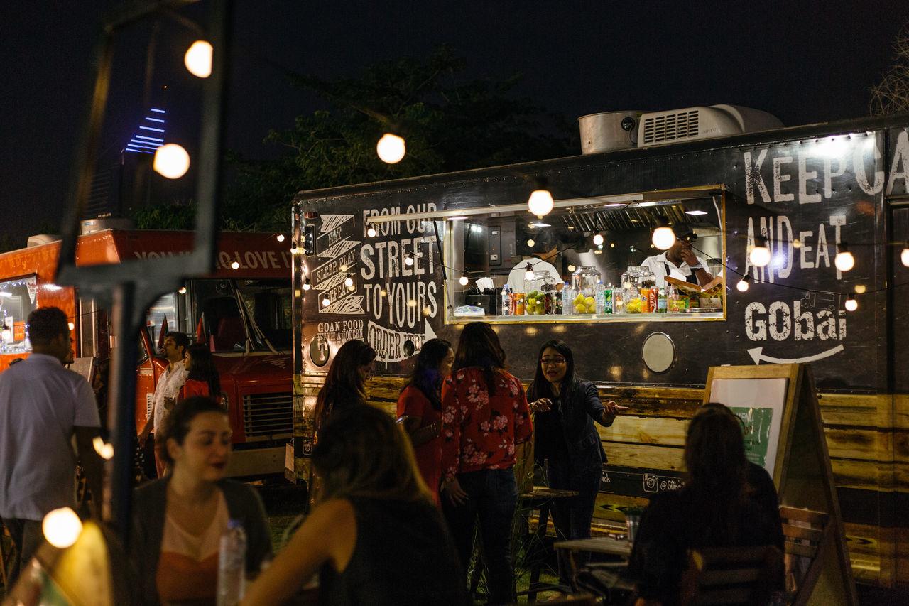 Adult Dark Food Truck Food Trucks Illuminated Large Group Of People Leisure Activity Men Night Outdoors People Van Women