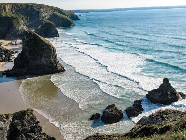 Bedruthan Steps, Mawgan Porth, Cornwall United Kingdom Cornwall Bedruthan Steps Mawgan Porth Beach Sea Water Cliffs Clifftop Waves Rocks Kiomi Collection