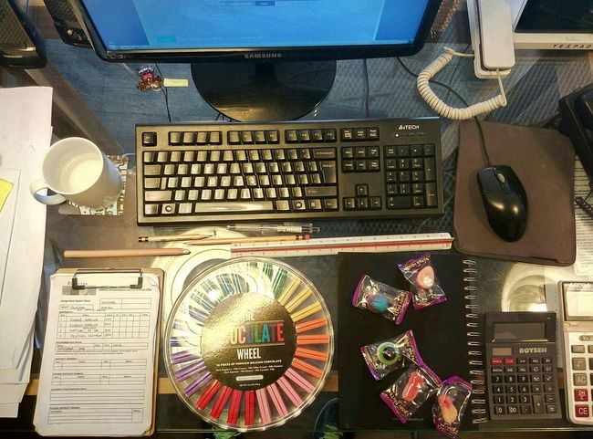 It's not everyday I have Chocolates on my Desk Eyeem Philippines Workplace Desks From Above