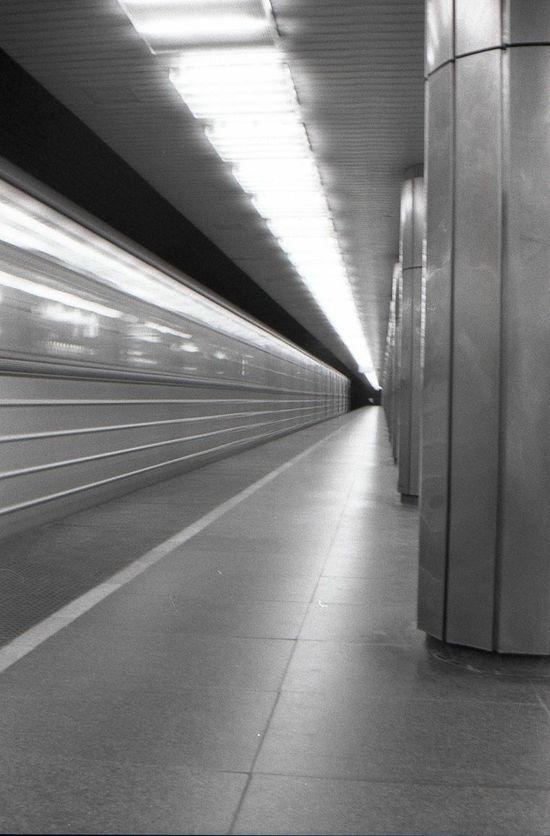 City Subway Budapest, Hungary Black And White Negative Scannedfilm Underground Speed Transportation