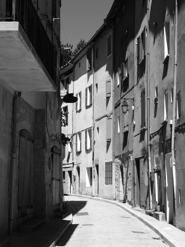 Architecture Blackandwhite Building Exterior Built Structure Day Diminishing Perspective Entrance Façade Footpath Long Narrow No People Old Town Outdoors Pedestrian Walkway Provence Residential Building Residential District Shadow Surface Level The Way Forward