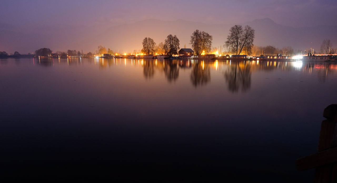 a view from houseboat Beauty In Nature Dal Lake Day Houseboat Lake Nature No People Outdoors Reflection Scenics Sky Srinagar Kashmir Sunset Tranquil Scene Tranquility Tree Water