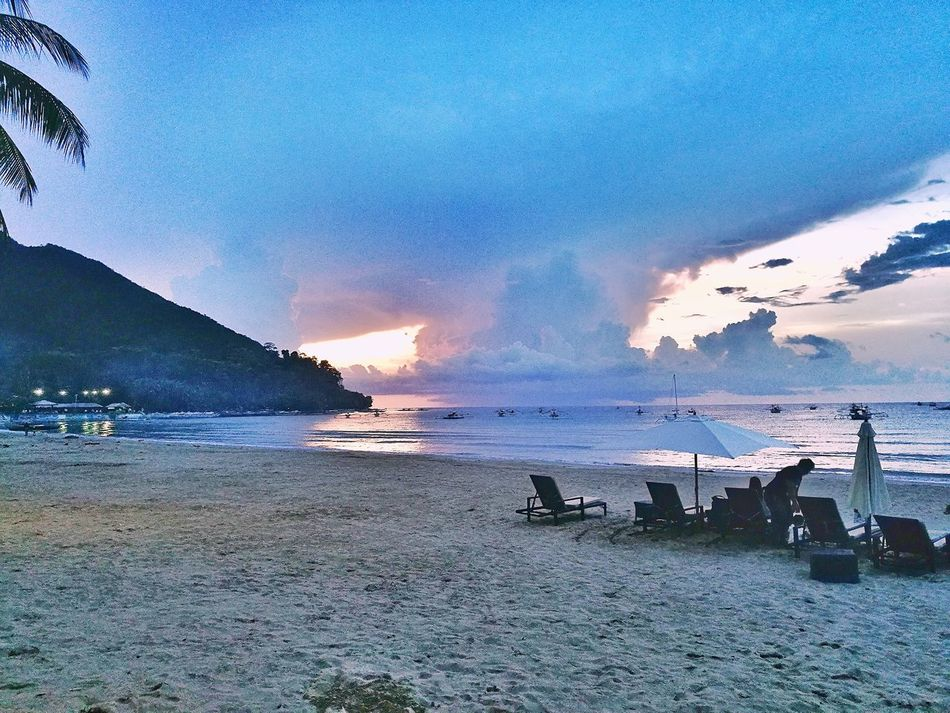On the beach.. Philippines Palawan Beach Beauty In Nature EyeEm Nature Lover Sabang Sea Water Sand Nature Sky Sunset Beauty In Nature Scenics Tranquility Outdoors Tranquil Scene Cloud - Sky Horizon Over Water Blue Vacations No People Day