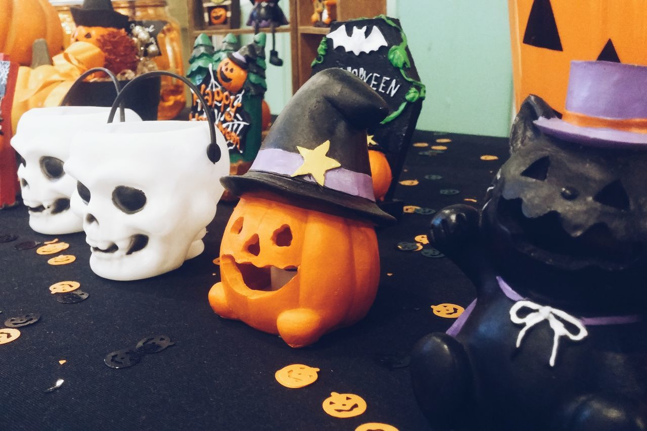 art and craft, creativity, halloween, pumpkin, celebration, anthropomorphic face, human representation, jack o lantern, cultures, tradition, no people, indoors, skeleton, food, day, close-up