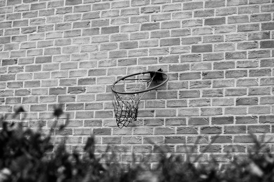 Childhood memories... Basket Basketball Basketball Hoop Black & White Blackandwhite Brick Wall Broken Broken Dreams Childhood Day High Contrast Hoop Memories Sad Used