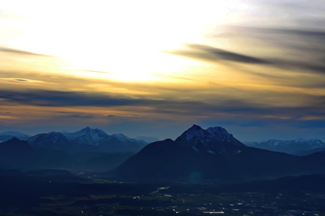 Travel Mountain Range Cloud - Sky Landscape Scenics Mountain Travel Destinations Sky Beauty In Nature City Nature Gaisberg Austria