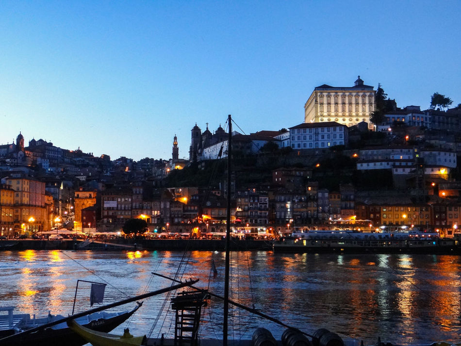 Architecture Building Exterior Douro River Portugal Harbour Illuminated Moored Nautical Vessel Night Photography No People Outdoors Riverside View Of City Water