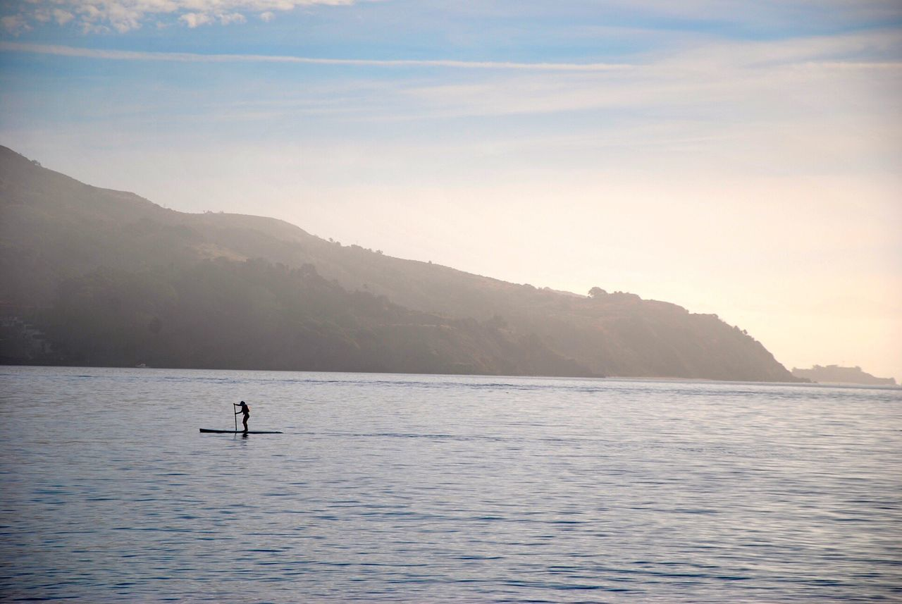Sausalito California Paddle Boarding Silhouette Alone Peace And Quiet Serenity Water Fit No Engine Balance