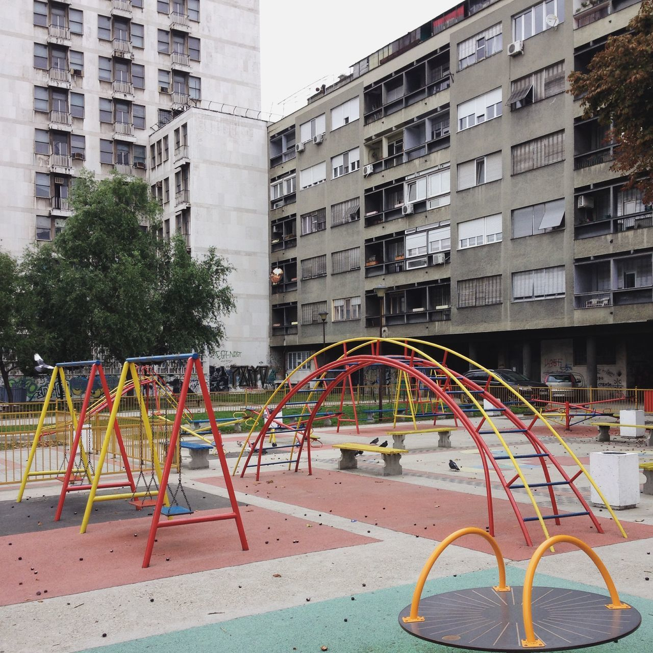 Abstract Architecture Architecture Belgrade Brutalism Building Exterior Built Structure City City Life Cityscape Cityscape Concrete Eastern Europe Empty Places Façade Minimal No People Outdoors Plattenbau Playground Playing Prefabricated Houses Serbia Tree Tristesse
