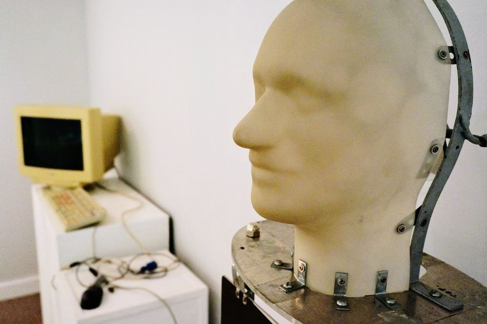 Robotic head. Close-up Technology Robotics Robot Computer Machine Android New Technology Focus On Foreground Invention