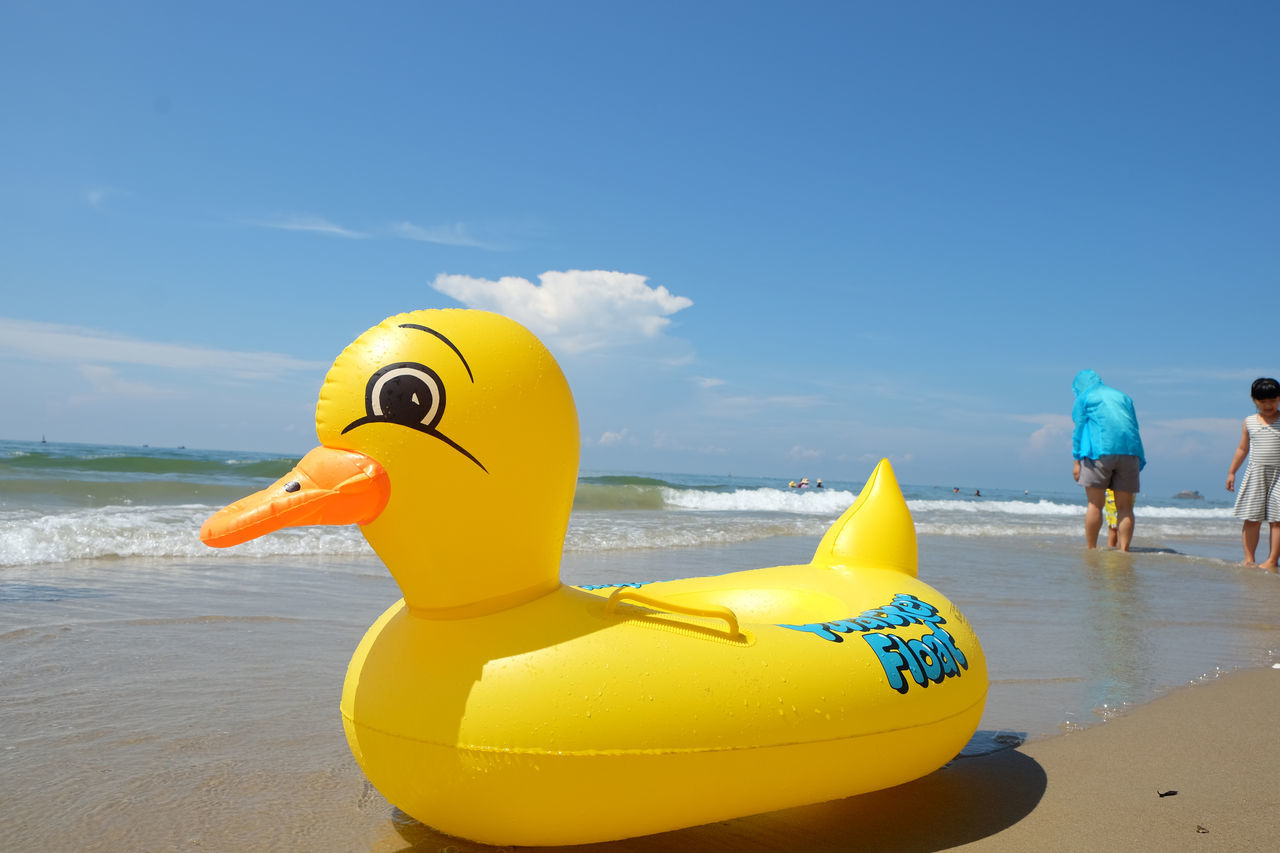 Day Duck Duck Toy Outdoors Sea Yellow Kid Toy Seaside Smile Place Of Heart