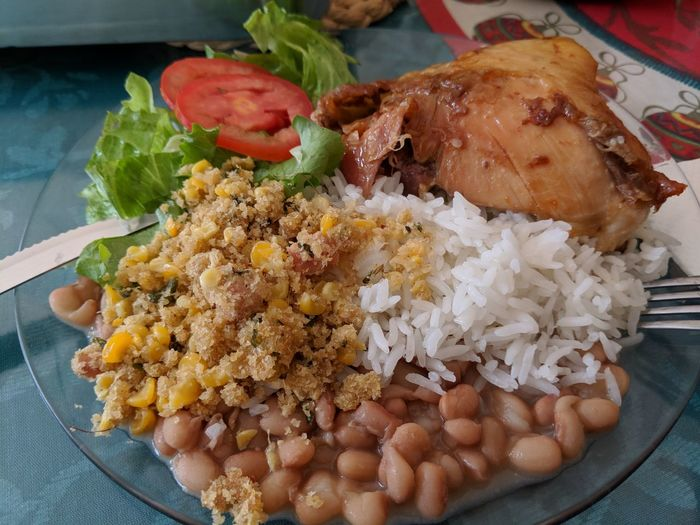 Brazilianfood Chicken Farofa Riceandbeans EyeEm Selects Food And Drink Food Freshness Indoors  No People Healthy Eating Ready-to-eat