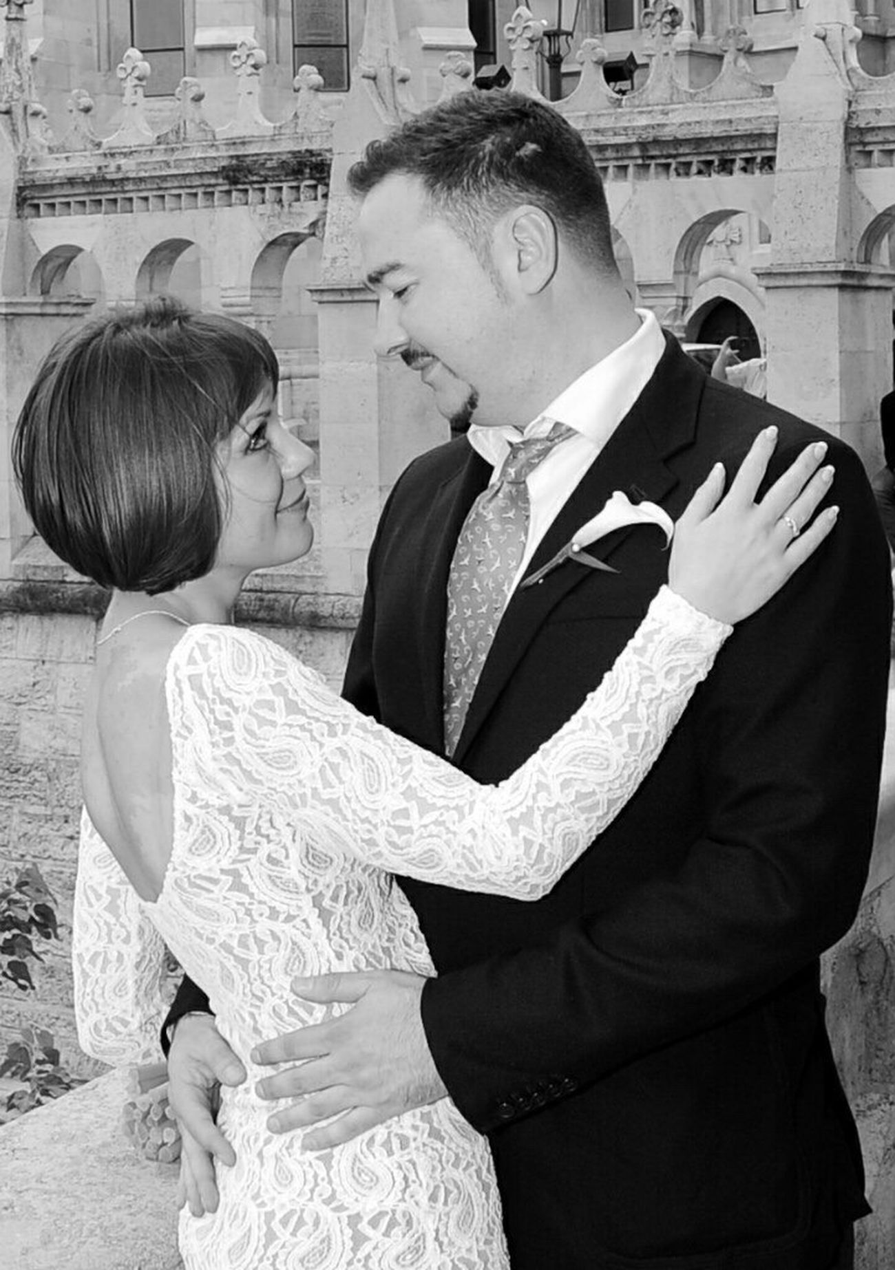 4 Years Together Wedding Anniversary Two People Bride Wedding Dress Wedding Happiness Budapest Fishermens Bastion Halászbástya
