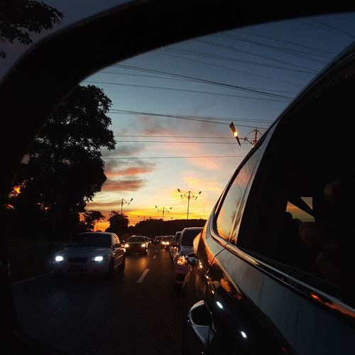 Transportation Car Mode Of Transport Road Land Vehicle Sunset Street Tree On The Move Sky Travel Dusk Side-view Mirror Reflection Cloud - Sky Illuminated Cloud The Way Forward Journey Vehicle