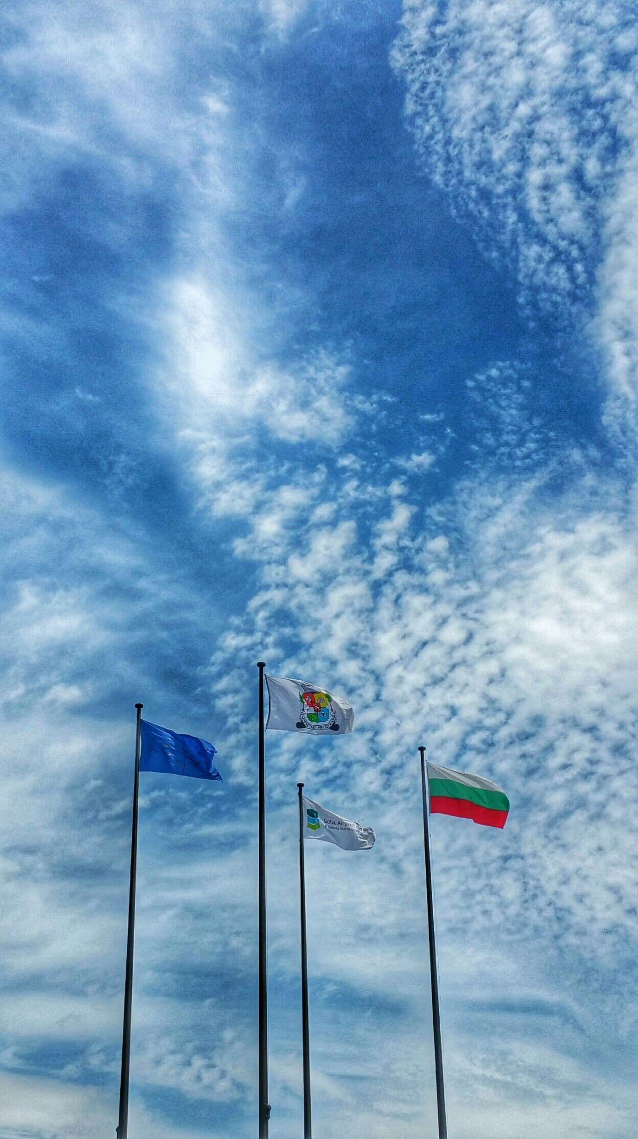 Flags Sofia Europeanunion Bulgaria Sky Bluesky Clouds