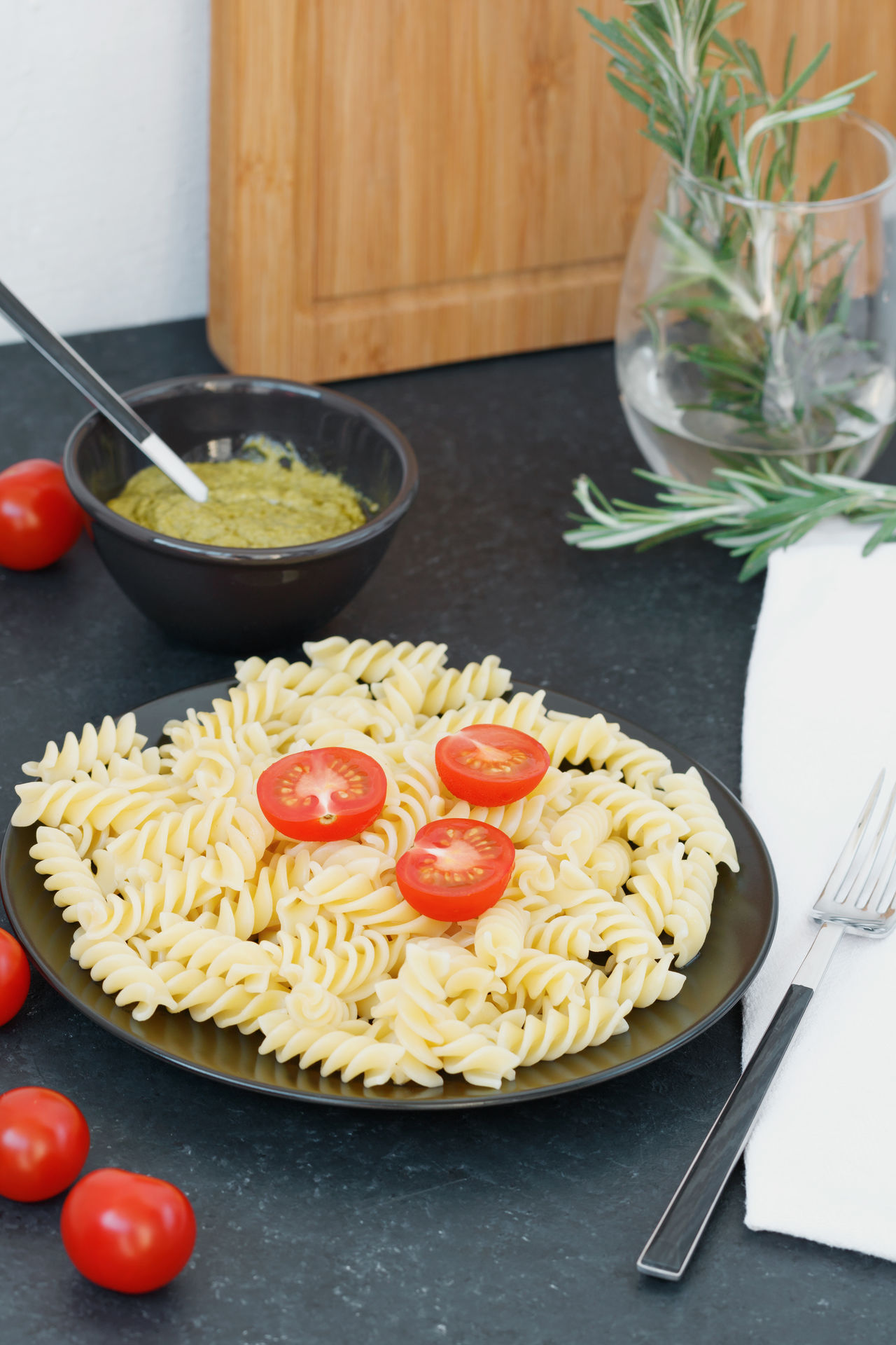 Basil Bowl Close-up Day Food Food And Drink Fork Freshness Healthy Eating Indoors  Italian Food Meal No People Pasta Plate Ready-to-eat Spaghetti Table Tomato