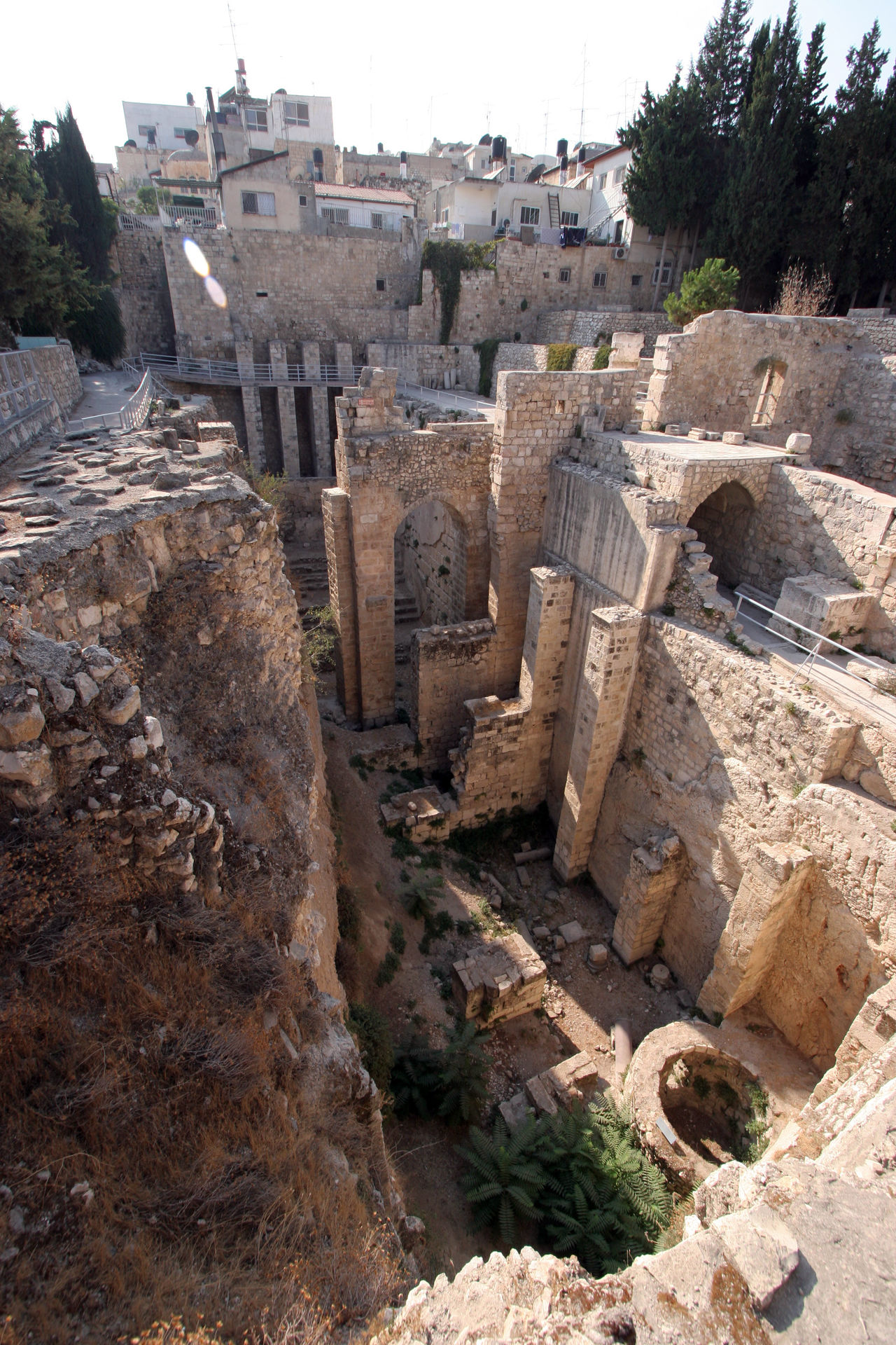 Ancient ruins of pools in the Muslim Quarter of Jerusalem Ancient Ancient Civilization Antique Archeology Architecture City Civilization Culture Historical History Holy City Israel Jerusalem Mediterranean  Middle East Old Old Ruin Palestine Pool Ruin Stone Structure The Past Wall Water