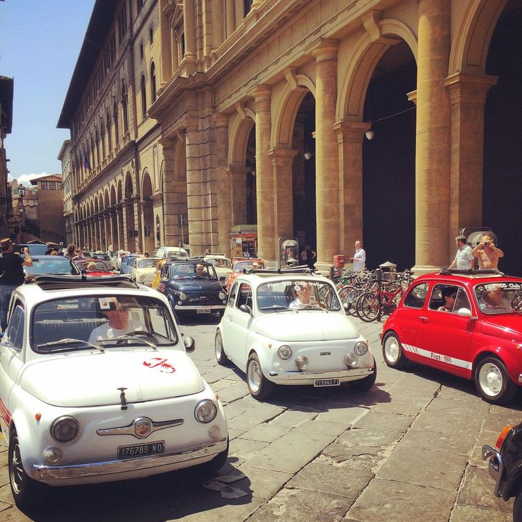 Florence Italy Car Fiat500 Landscape Enjoying The Sun Walking Around Escaping Tuscany Trip