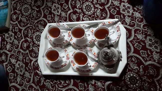 Arrangement Beverage Choice Coffee Coffee - Drink Coffee Cup Composition Cup Directly Above Drink Food And Drink Freshness Indoors  Kahwa Kashmiri Drin Kashmiri Tea Order Overhead View Preparation  Refreshment Saucer Spoon Still Life Table Top Perspective Variation