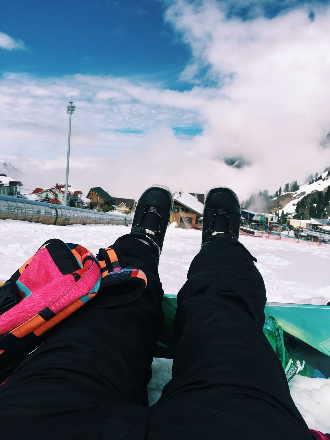 Sky Snow Leisure Activity Winter One Person Cloud - Sky Day Outdoors Low Section Cold Temperature Nature Water Human Leg Snowboarding Human Body Part Ice Skate People