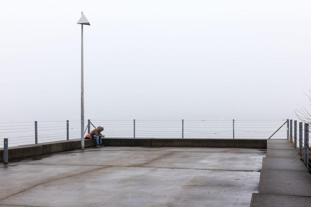 24.1.2017 Alone Antwerp Antwerpen, Belgium Fog Isolation Linkeroever Loneliness Lonely Mist One Person People Street Street Photography The Street Photographer - 2017 EyeEm Awards