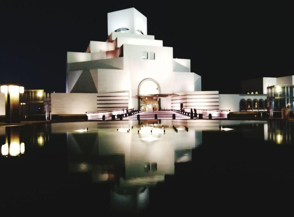 Reflection Building Exterior Architecture Water Illuminated Night Doha Qatar Islamic Architecture Dark Art