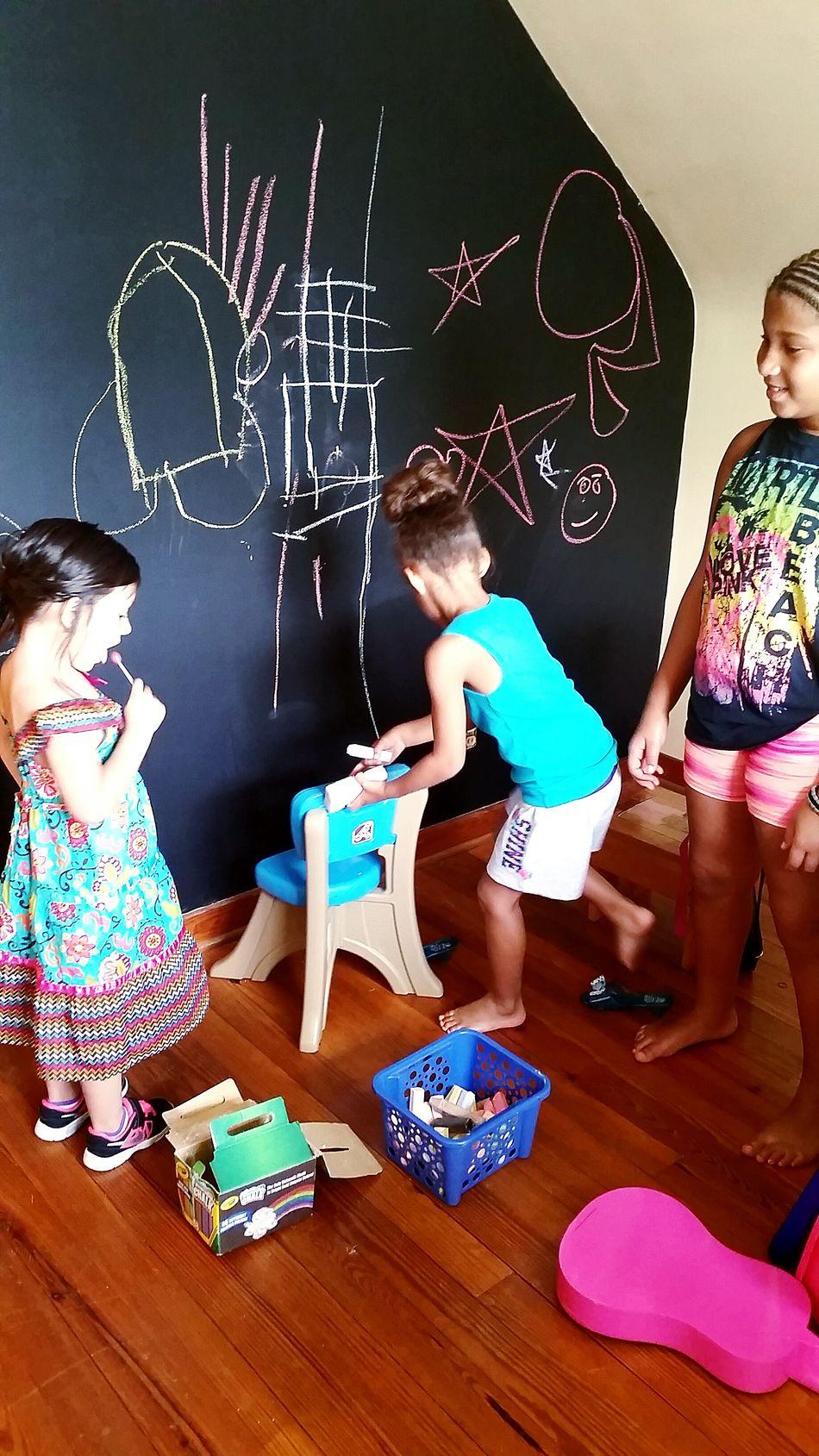 Love Funtimes Westvirgina Cousins  Chalkboard Wall Chalk Art Children Mixed Girls Beautiful Girls