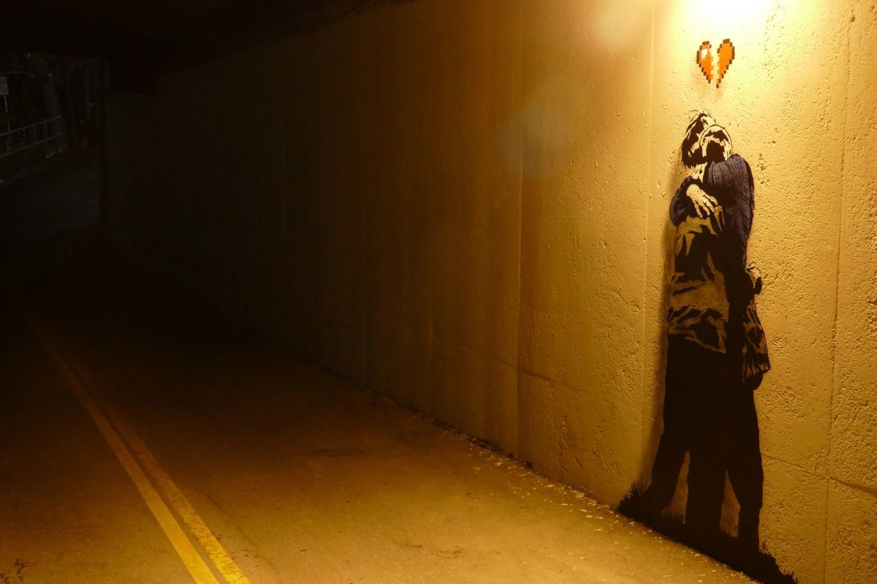 Always Be Cozy Close couple; transient art in the 14 Street underpass, there and then gone in less than a day. Two People Two Dimensional Painted People Lamp Light Underpass Street Art Street Graffiti Young Lovers