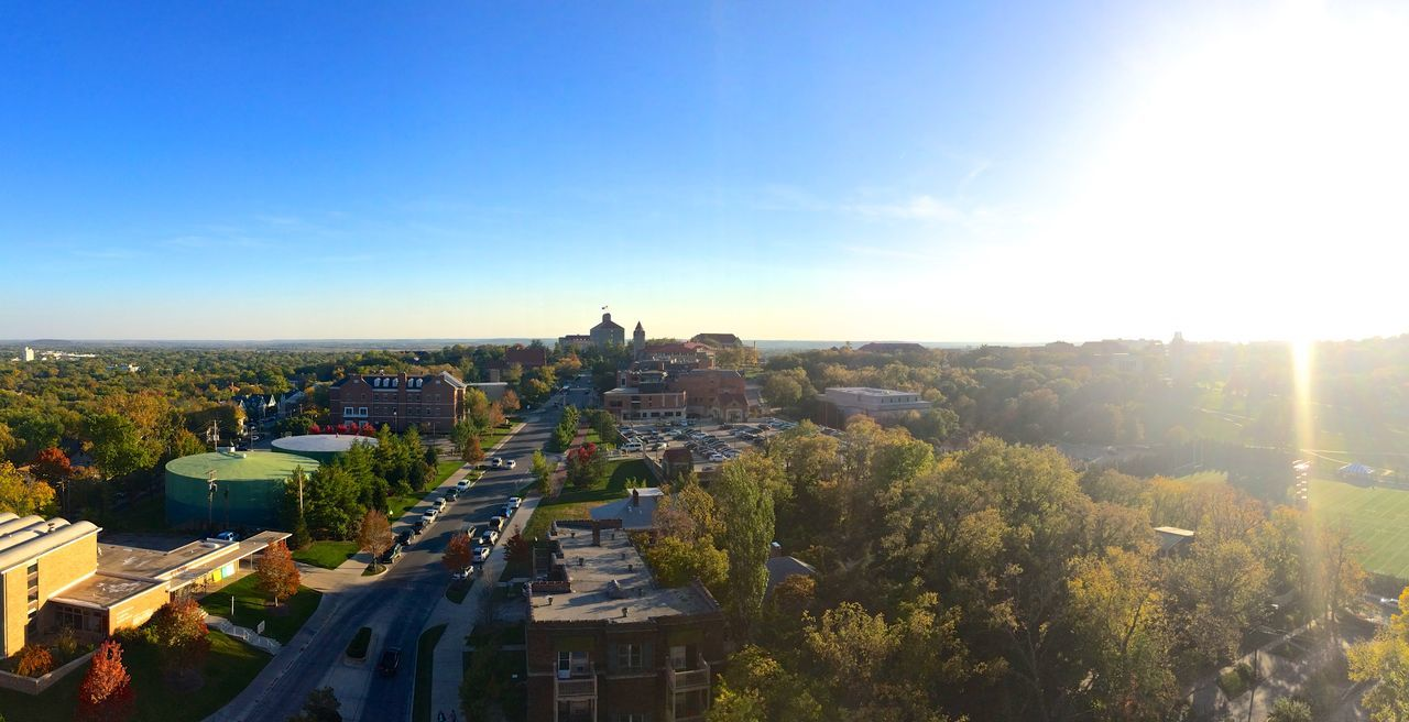 Architecture Built Structure City College Life High Angle View Horizon Over Land Kansas Lawrence KS Panoramic Sunbeam Sunlight Sunny University Of Kansas Wide Shot