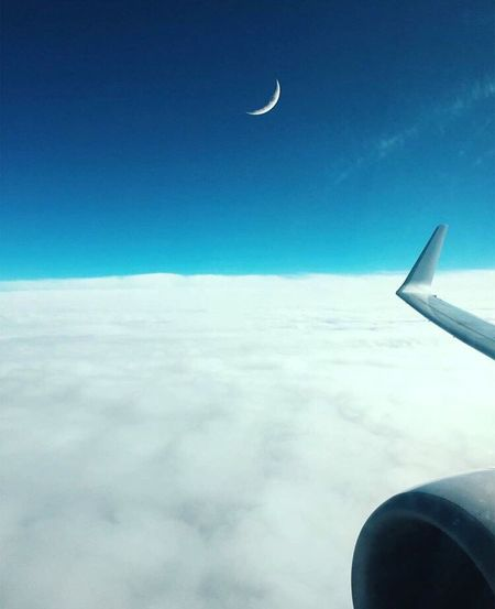 Let's Go. Together. Airplane Transportation Journey Sky Airplane Wing Cloud - Sky Aerial View Flying Air Vehicle Travel Cloudscape Blue First Eyeem Photo