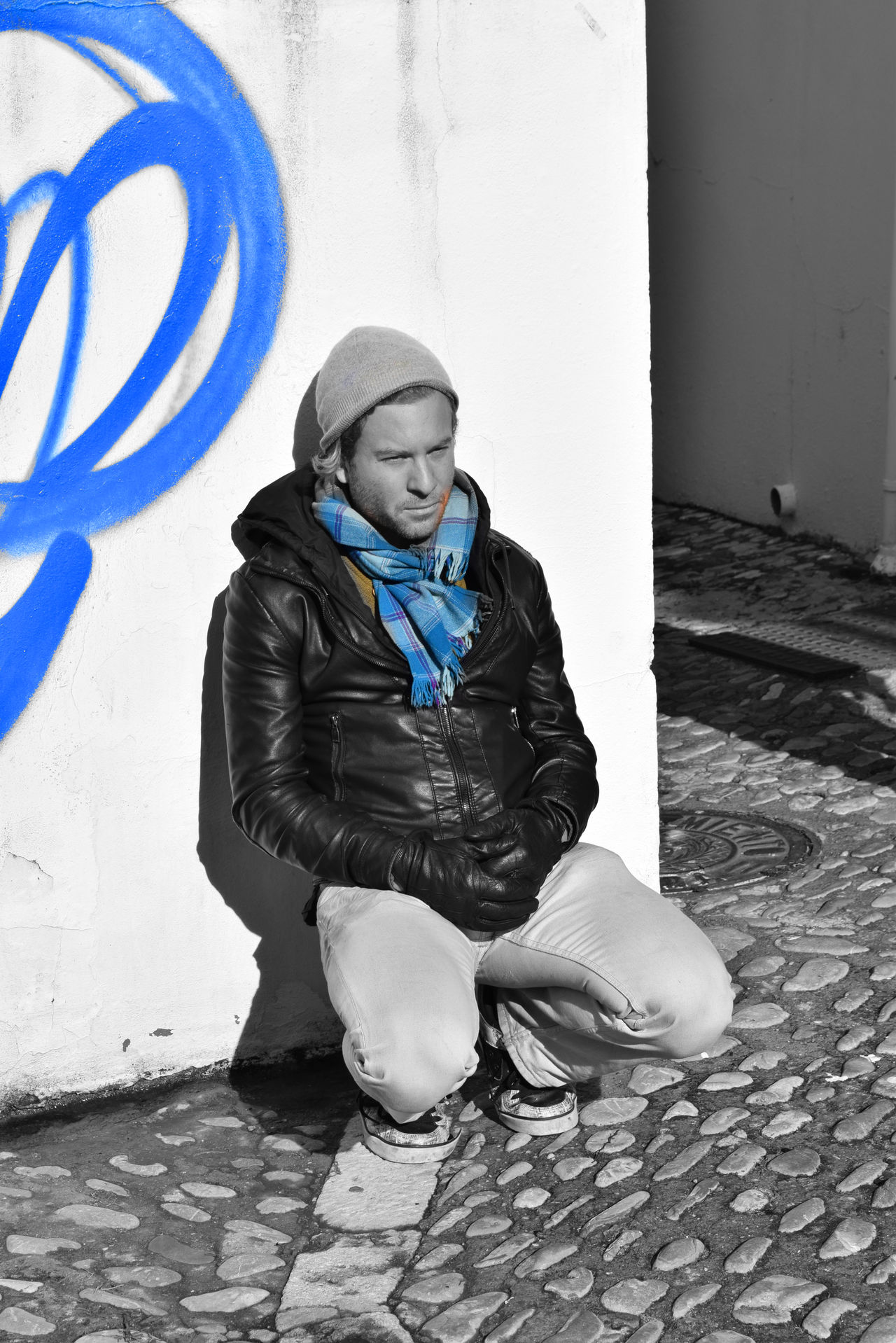 Blackandwhite Blue Casual Clothing Fashion Granada Granada, Spain Hanging Around Hanging Out Leisure Activity Monochrome Person Portrait Real People Showcase: FebruarySitting Son Travel Photography Traveling UNPOSED