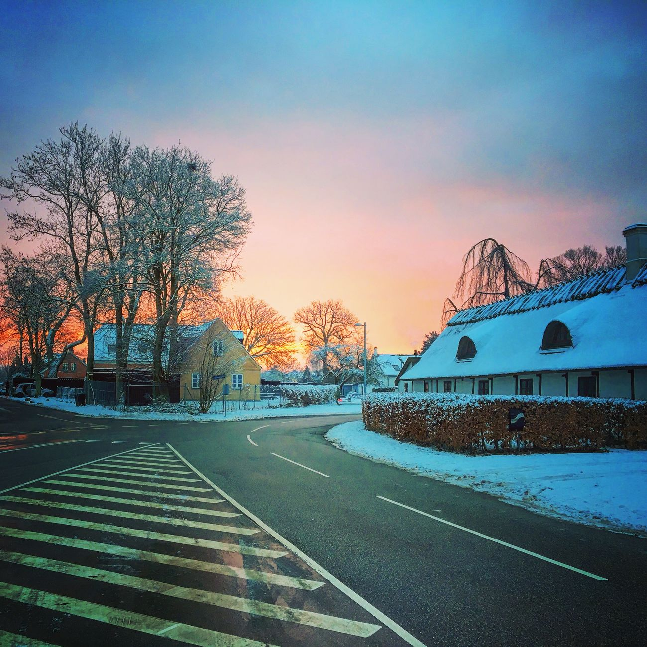 The village of Jersie, Denmark Village Denmark Jersie Sunrise Winter Wonderland Winter