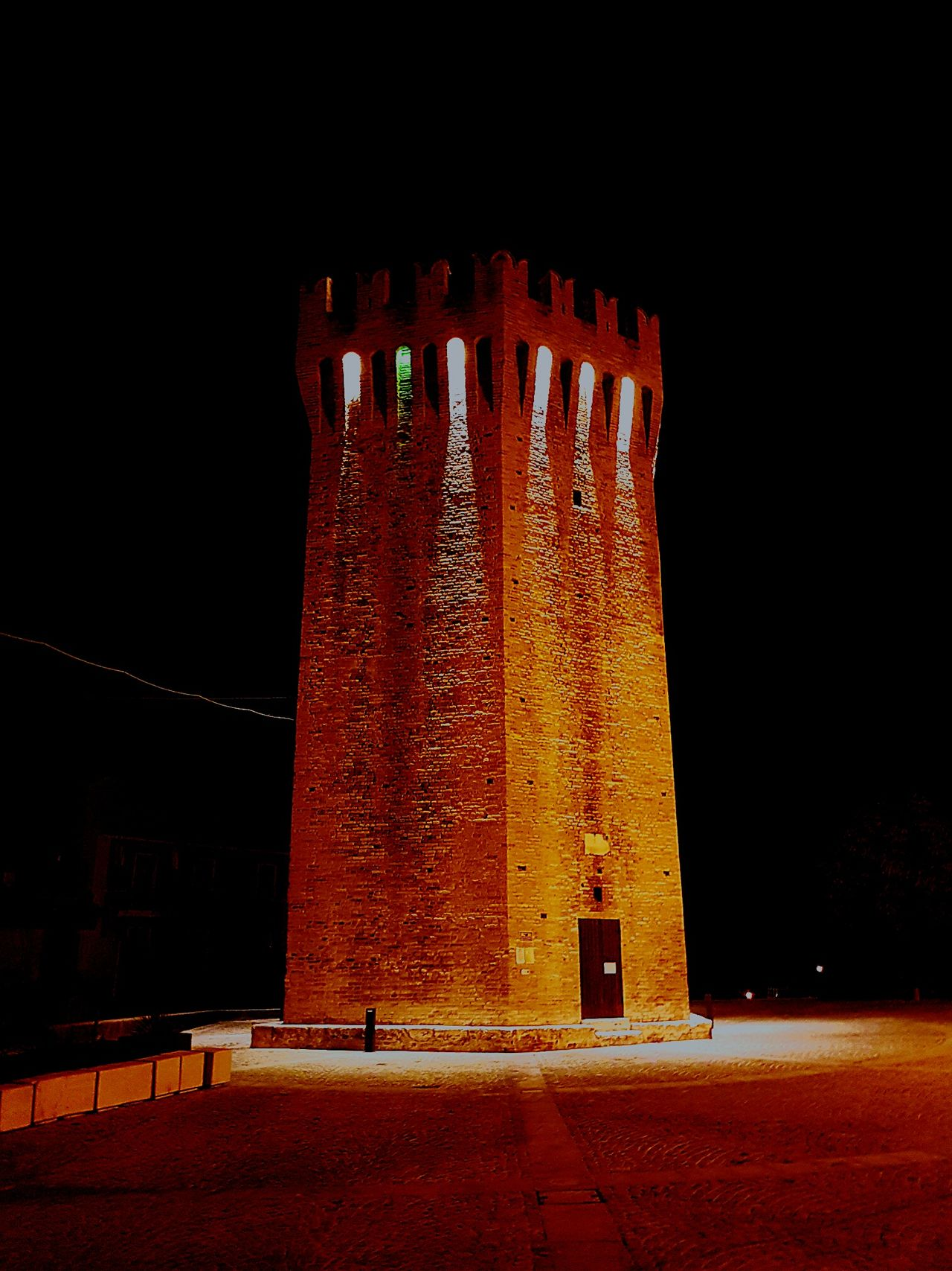 Tower Italia Torre Green Light Night History No People Architecture The Past Light In The Darkness Black Background