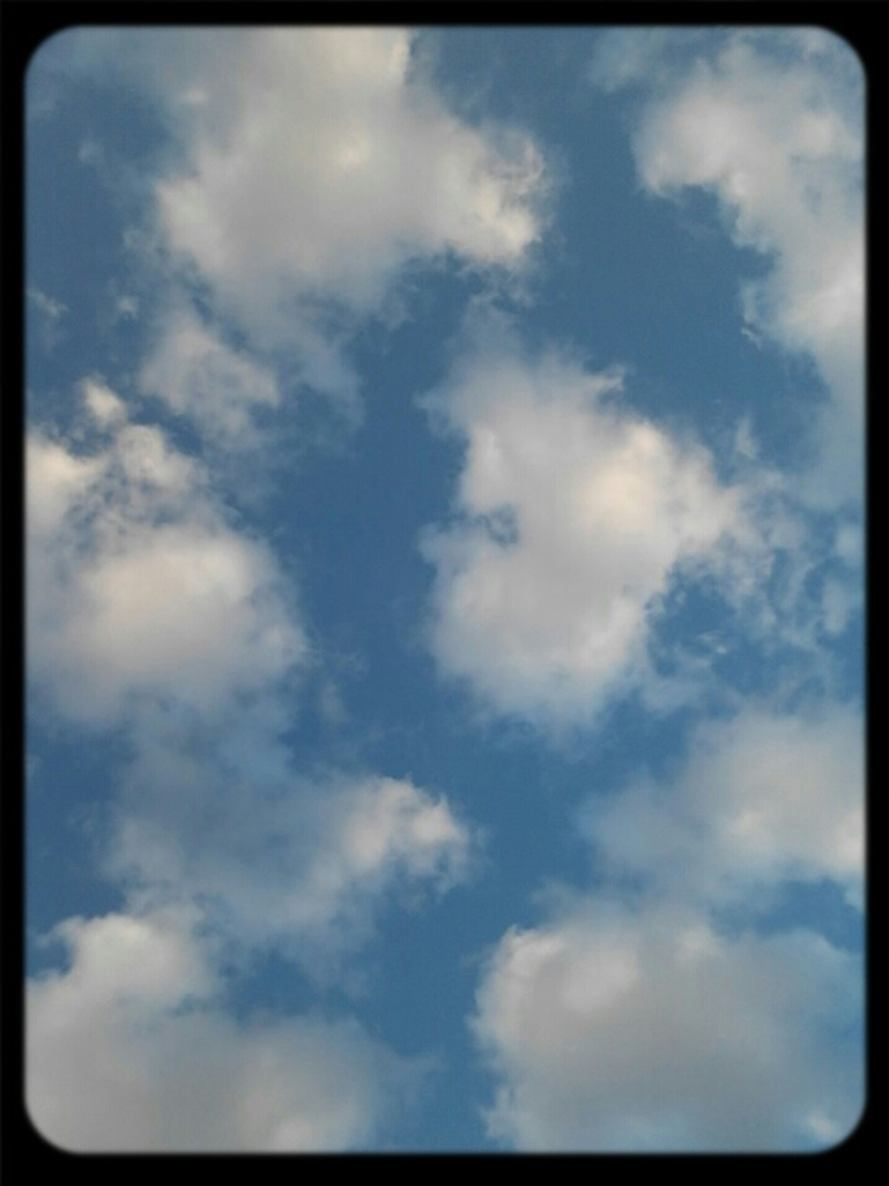transfer print, sky, auto post production filter, cloud - sky, low angle view, cloudy, beauty in nature, cloud, tranquility, nature, scenics, tranquil scene, outdoors, sky only, day, blue, no people, cloudscape, backgrounds, idyllic