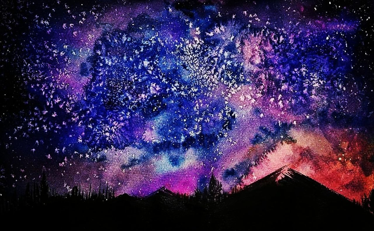 Night Milky Way Sky Beauty In Nature Space Galaxy Colors Blue Illustration Artworks Art Watercolorpainting Watercolor Painting Creative Creativity Waterblog Watercolours Beauty In Nature Nature
