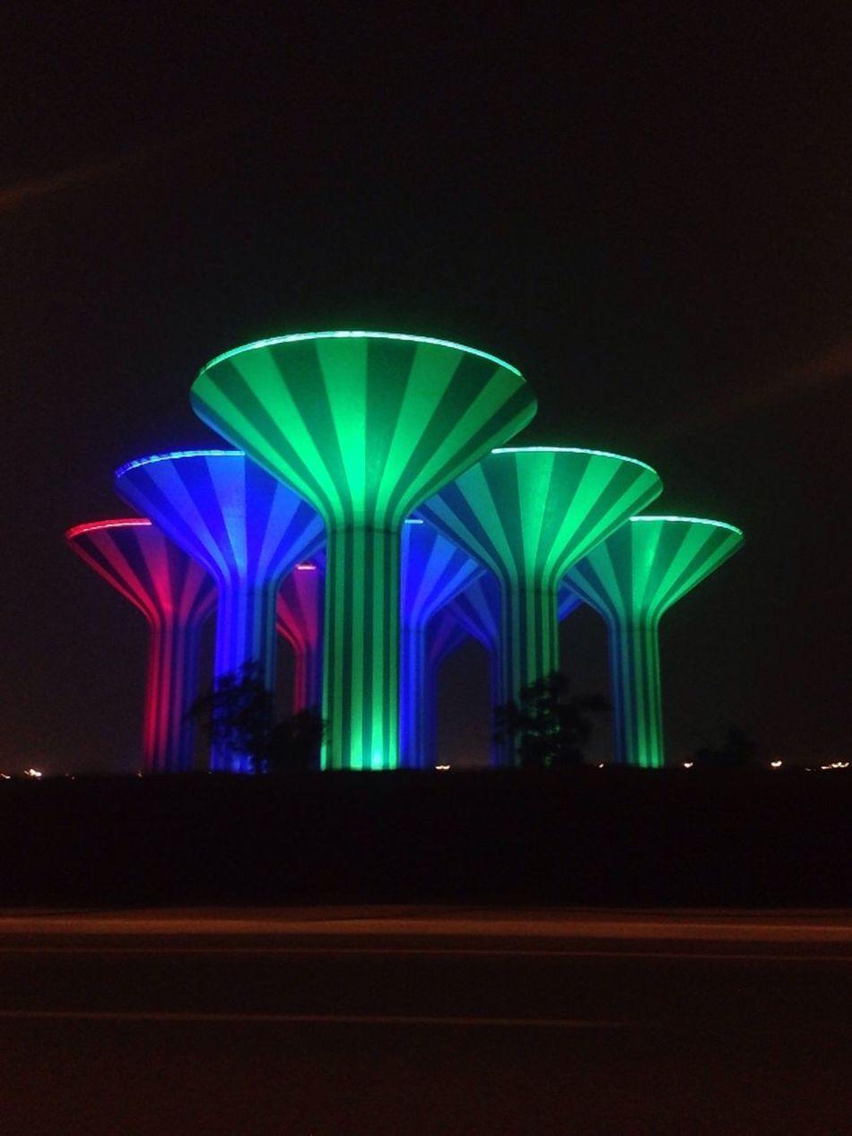 Kuwait Towers Kuwait Kuwait❤ Night Outdoors Architecture الكويت Kuwait City Nightphotography Night Lights Kuwait At Night