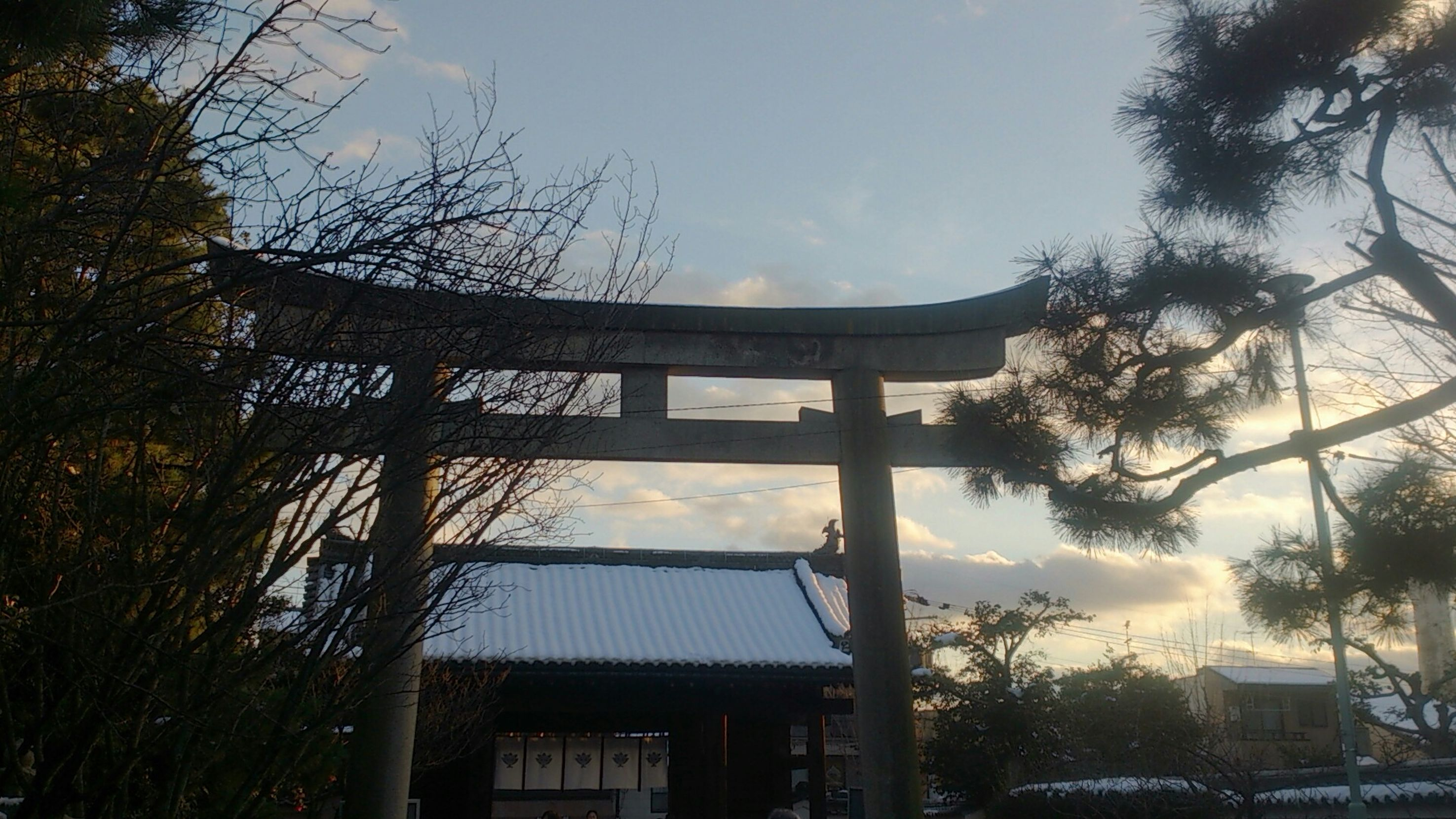 Happy New Year 2015 Japan Unusual Rera Snow Day In Kyoto At Shrine Hope For New Year Brace And Hope Sunset Sky And Clouds Sky