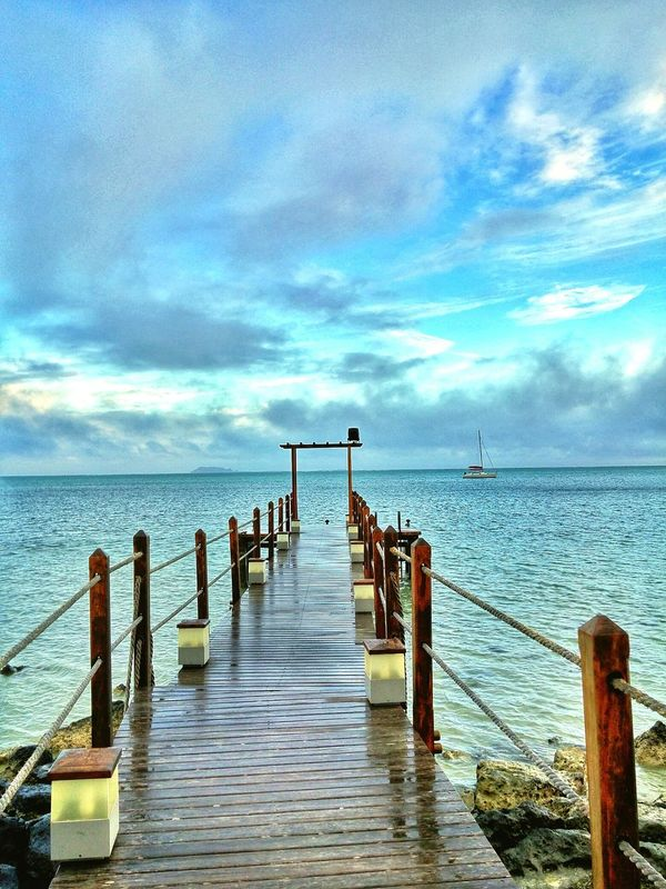 Sea Water Pier Sky Blue Nature Beauty In Nature No People Scenics Horizon Over Water Outdoors Day Ocean Ocean View Mauritius Morning Sailboat Boat
