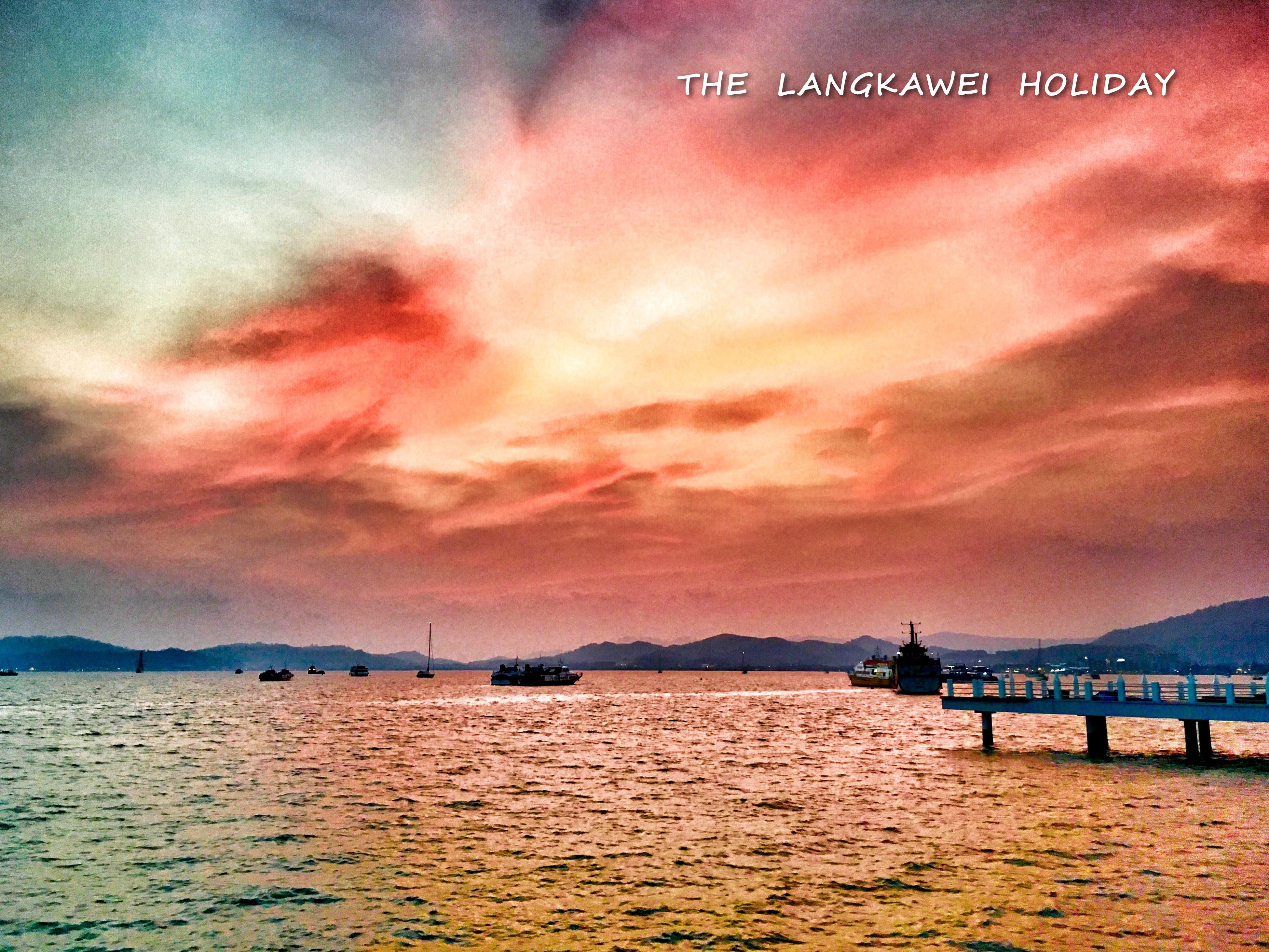 sunset, water, sky, waterfront, sea, cloud - sky, tranquil scene, tranquility, scenics, built structure, beauty in nature, orange color, architecture, nature, river, cloudy, transportation, cloud, rippled, dusk