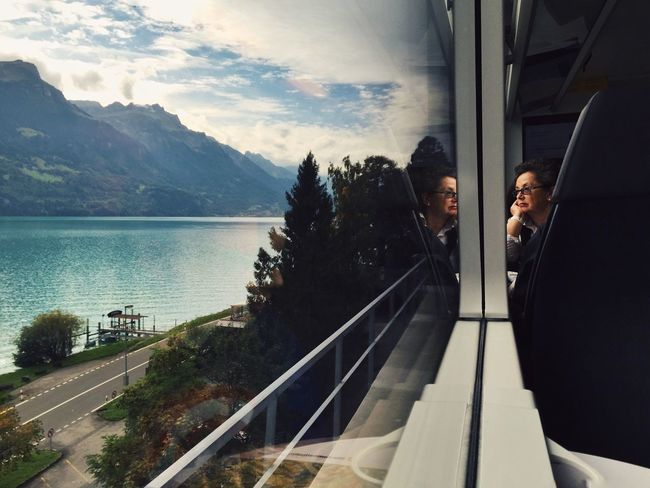 Love the journey 💙 On The Way The Journey Is The Destination Switzerland Train Lake Lake View Traveling Woman Travel Window Landscape View Enjoying Life Mytrainmoments Mydtrainmoments Mydswissmoments Two Is Better Than One