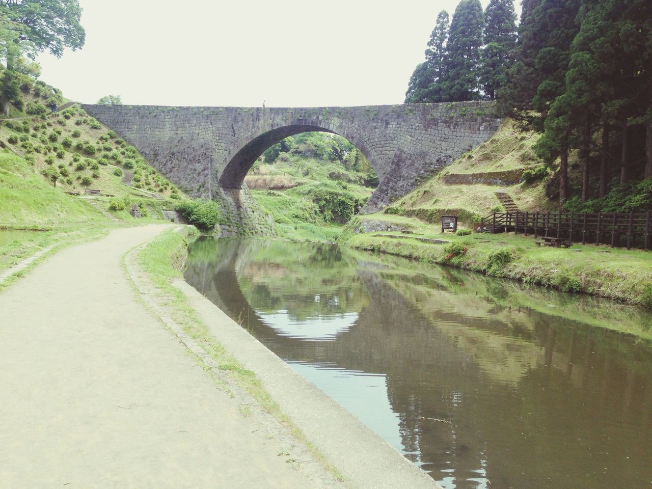 reflection, water, tree, day, arch, road, transportation, outdoors, no people, bridge - man made structure, nature, scenics, clear sky, architecture, sky