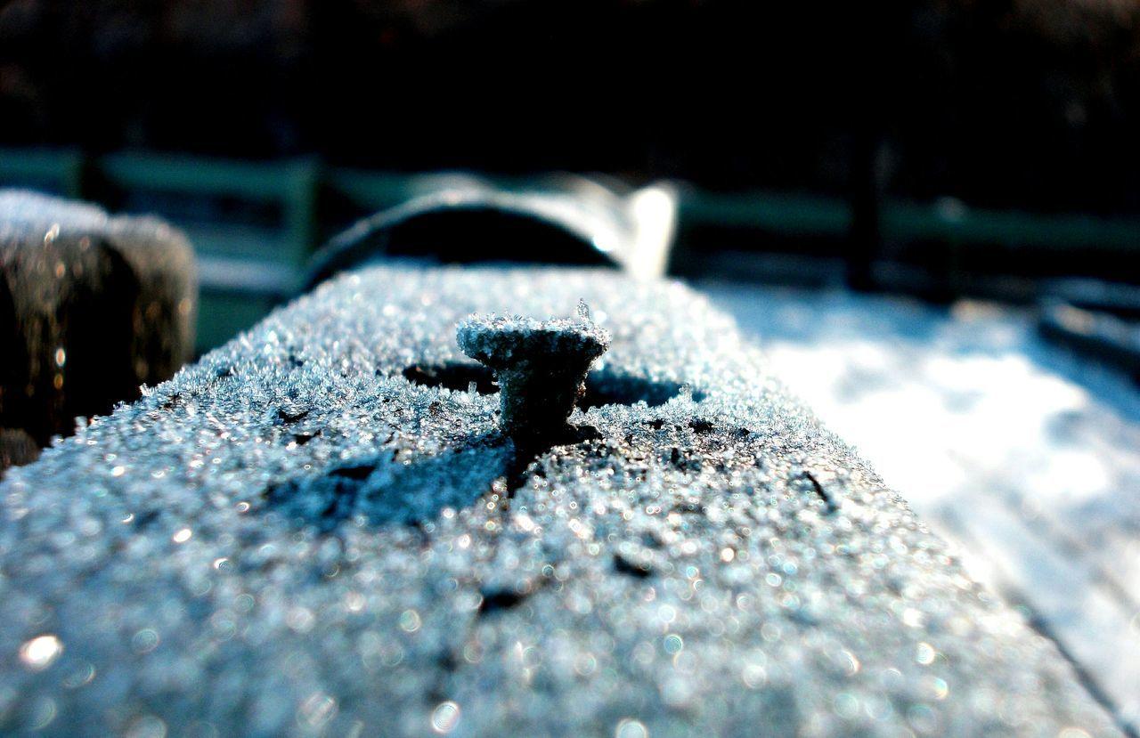 Macro Ice Crystals Rusted Metal  Railings