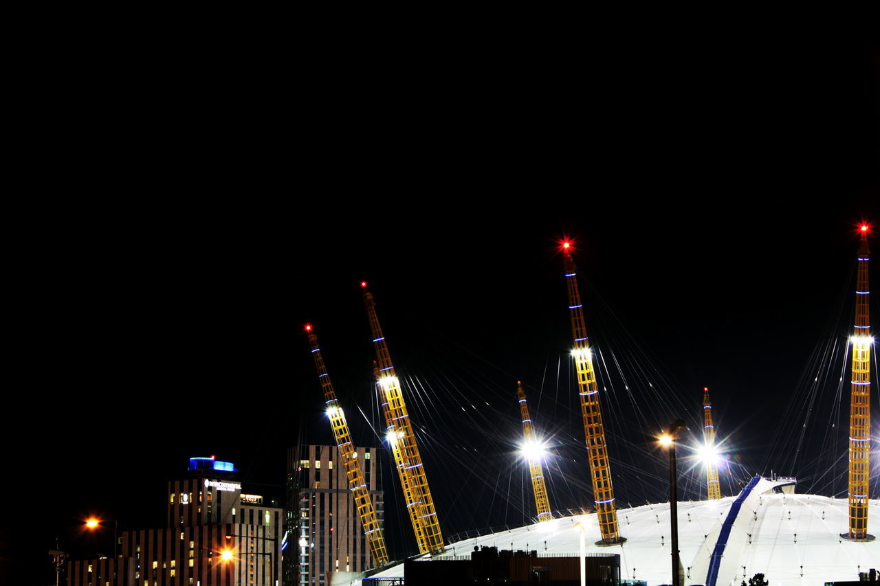 Architecture Building Exterior Built Structure City Copy Space Illuminated London Night No People O2 Arena Outdoors Sky