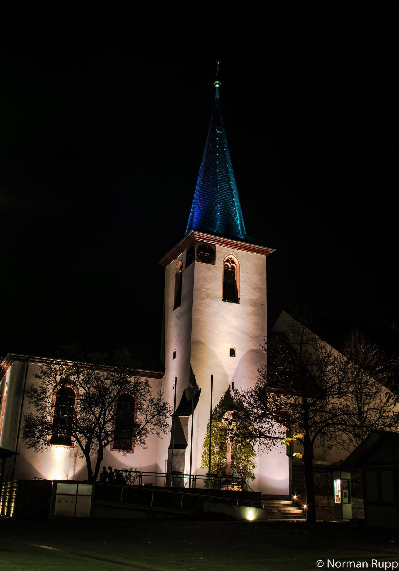Chruch in Walldorf Badenwürttemberg Germany . Night Tower Long Exposure Sky Street Lights Dark Normanrupp Pentax