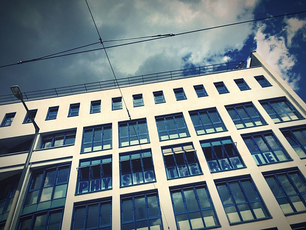 Window Building Exterior Architecture Built Structure Sky Cloud - Sky Low Angle View No People Day Outdoors Cable Façade City Leipzig Leipzig ♥️ Leipzigcity Bestephysiotherapie Physiotherapy Physio Beste