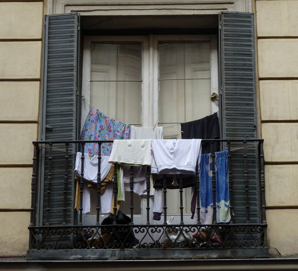 """Laundry day"" Balcony Building Building Exterior Clothes Juliet Balcony Laundry Madrid Spain No People Railing Residential Building Shutters Summer Sunset Terrace Underwear😈 Washing"