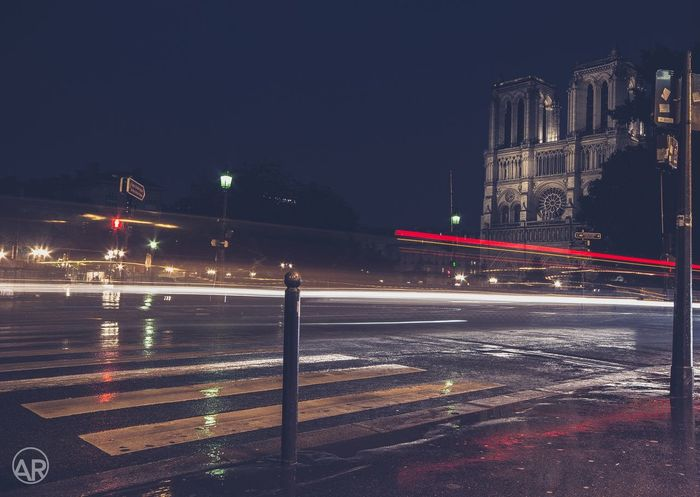 Notre Dame, Paris Night Illuminated Light Trail Transportation Long Exposure Road Traffic City Motion Speed Street Light Outdoors Blurred Motion Building Exterior Architecture No People Clear Sky High Street Sky France Paris Religion Canon